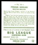 1933 Goudey Reprint #30  Frank Hogan  Back Thumbnail