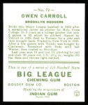 1933 Goudey Reprint #72  Owen Carroll  Back Thumbnail