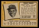 1971 O-Pee-Chee #580  Tony Perez  Back Thumbnail