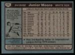 1980 Topps #186  Junior Moore  Back Thumbnail