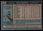 1980 Topps #496  Silvio Martinez  Back Thumbnail