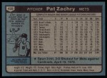 1980 Topps #428  Pat Zachry  Back Thumbnail