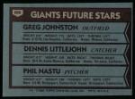 1980 Topps #686   -  Greg Johnston / Dennis Littlejohn / Phil Nastu  Giants Rookies Back Thumbnail