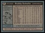 1980 Topps #601  Buddy Schultz  Back Thumbnail