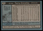 1980 Topps #188  Terry Crowley  Back Thumbnail