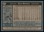1980 Topps #477  Buck Martinez  Back Thumbnail