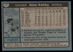1980 Topps #187  Alan Ashby  Back Thumbnail