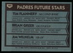 1980 Topps #685   -  Tim Flannery / Brian Greer / Jim Wilhelm  Padres Rookies Back Thumbnail