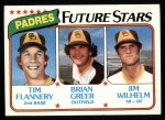 1980 Topps #685   -  Tim Flannery / Brian Greer / Jim Wilhelm  Padres Rookies Front Thumbnail