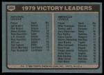 1980 Topps #205   -   Phil Niekro / Joe Niekro/ Mike Flanagan Victory Leaders  Back Thumbnail