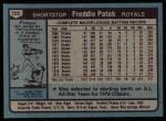 1980 Topps #705  Freddie Patek  Back Thumbnail