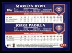2003 Topps #322   -  Marlon Byrd / Jorge Padilla Future Stars Back Thumbnail