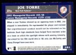 2003 Topps #281  Joe Torre  Back Thumbnail