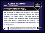 2003 Topps #270  Clint Hurdle  Back Thumbnail