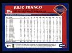 2003 Topps #409  Julio Franco  Back Thumbnail