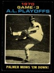 1971 O-Pee-Chee #197   -  Jim Palmer 1970 AL Playoffs - Game 3 - Palmer Mows 'Em Down Front Thumbnail