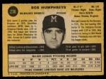 1971 O-Pee-Chee #236  Bob Humphreys  Back Thumbnail