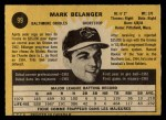 1971 O-Pee-Chee #99  Mark Belanger  Back Thumbnail
