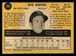 1971 O-Pee-Chee #383  Rod Gaspar  Back Thumbnail