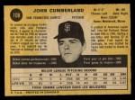 1971 O-Pee-Chee #108  John Cumberland  Back Thumbnail