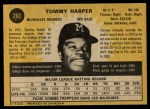 1971 O-Pee-Chee #260  Tommy Harper  Back Thumbnail