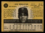 1971 O-Pee-Chee #16  Ken Singleton  Back Thumbnail
