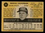 1971 O-Pee-Chee #84  Marcel Lachemann  Back Thumbnail