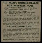 1952 Red Man #13 AL x George Kell  Back Thumbnail