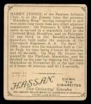 1910 T218 Champions #27  Harry Jensen  Back Thumbnail