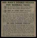 1952 Red Man #4 AL x Gil Coan  Back Thumbnail