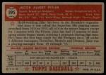 1952 Topps #395  Jake Pitler  Back Thumbnail