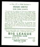 1934 Goudey Reprint #17  Hugh Critz  Back Thumbnail