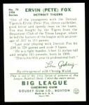 1934 Goudey Reprint #70  Pete Fox  Back Thumbnail