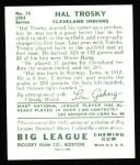 1934 Goudey Reprint #76  Hal Trosky  Back Thumbnail