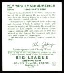 1934 Goudey Reprint #54  Wesley Schulmerich  Back Thumbnail