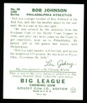 1934 Goudey Reprint #68  Bob Johnson  Back Thumbnail