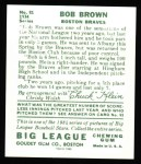 1934 Goudey Reprint #81  Bob Brown  Back Thumbnail