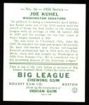 1934 Goudey Reprint #16  Joe Kuhel  Back Thumbnail