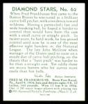 1934 Diamond Stars Reprint #62  Fred M. Frankhouse  Back Thumbnail