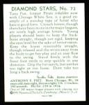 1934 Diamond Stars Reprint #72  Tony Piet  Back Thumbnail