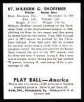 1939 Play Ball Reprint #87  Milburn Shoffner  Back Thumbnail