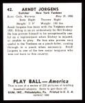 1939 Play Ball Reprint #42  Arndt Jorgens  Back Thumbnail