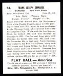 1939 Play Ball Reprint #34  Frank Demaree  Back Thumbnail