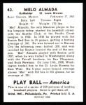 1939 Play Ball Reprint #43  Melo Almada  Back Thumbnail