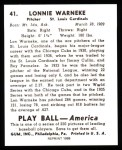 1939 Play Ball Reprint #41  Lon Warneke  Back Thumbnail