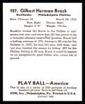 1939 Play Ball Reprint #127  Gil Brack  Back Thumbnail