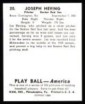1939 Play Ball Reprint #20  Joe Heving  Back Thumbnail