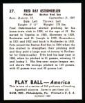 1939 Play Ball Reprint #27  Fred Ostermueller  Back Thumbnail