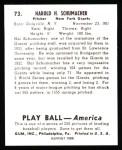 1939 Play Ball Reprint #73  Hal Schumacher  Back Thumbnail