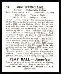 1939 Play Ball Reprint #37  Virgil Davis  Back Thumbnail